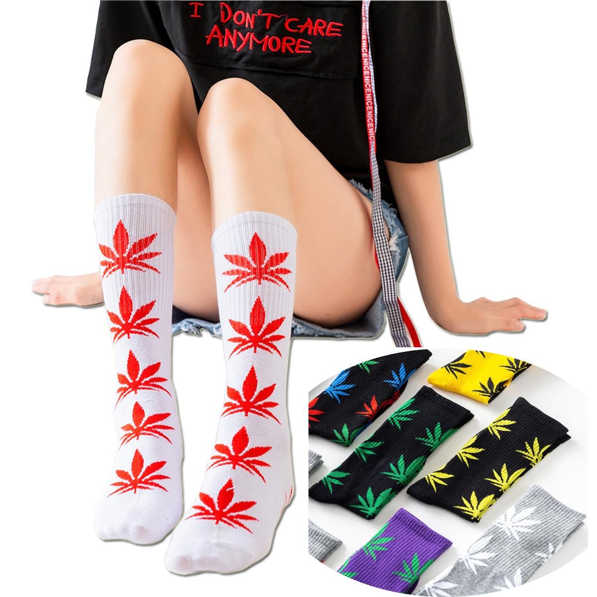 Cheap Women Men Ankle Maple   Sock   Hemp Meias Leaf Female Spring Summer Weed   Socks   Skateboard Hip Hop   Socks