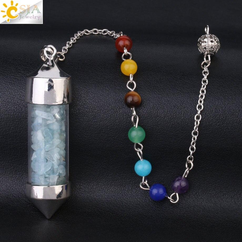 CSJA Новое поступление 7 Чакра Желая бутылка маятник рейки натуральный чип камень кулон ожерелье для женщин мужчин гадания амулет F976 - Окраска металла: Aquamarine