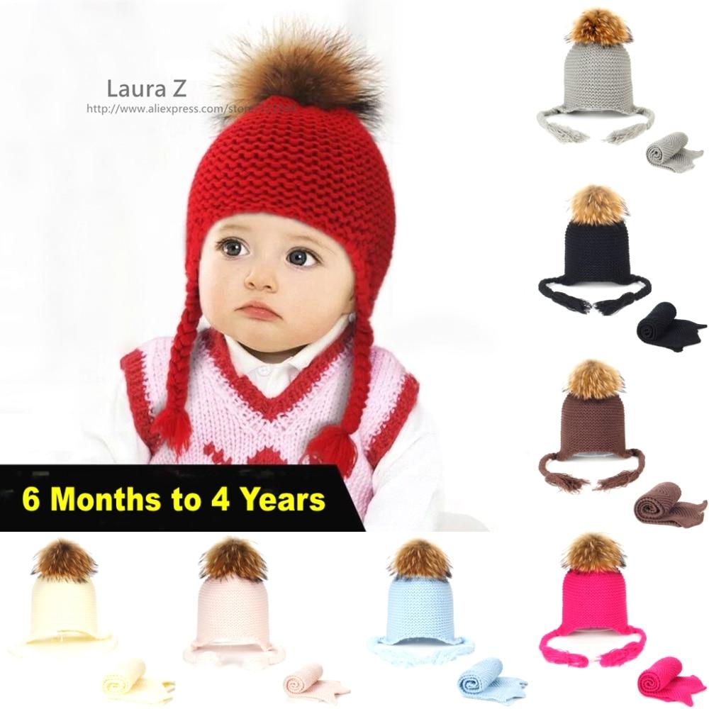 LAURASHOW Körpə Trikotaj Şapka Yenot Mink Tülkü Kürk Topu 15 sm Uşaq Qapağı Qış İsti Şərf Pom Qız Oğlan Kapka hədiyyə