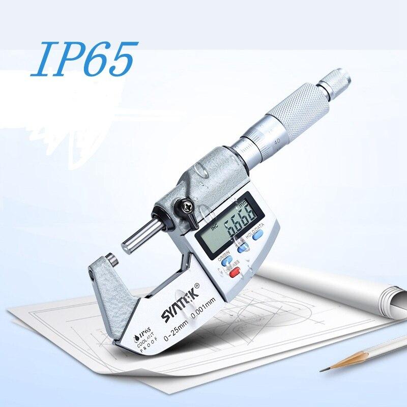 0,001 мм IP65 Электронный микрометр 0-25-50-75-100mm Водонепроницаемый цифровой вне суппорт микрометров Толщина Датчик метр инструменты
