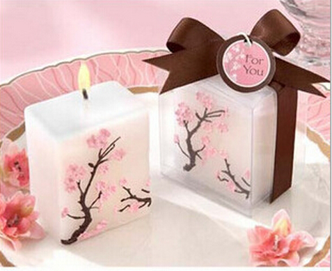 10pcs Plum Blossom Candle Wedding Baby Shower Birthday Souvenirs Gifts Favor Packaged With PVC Box