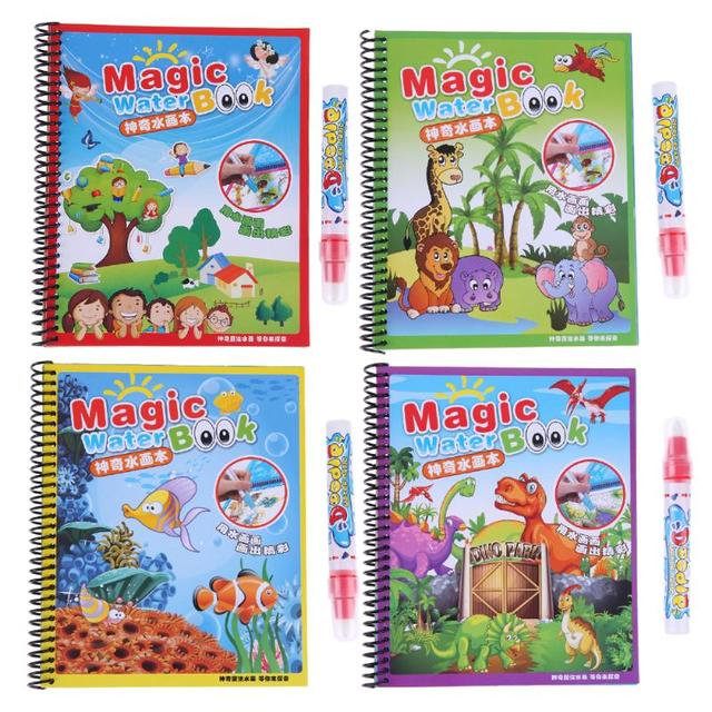 Reusable Kids Drawing Al Water Paint Coloring Book Nursery School Supplies With Magic Doodle Pen
