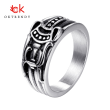 купить Oktrendy Cool Men's Vintage Rock Punk Rings Stainless Steel Individuality Retro Totem Pattern Ring For Men Party Jewelry дешево
