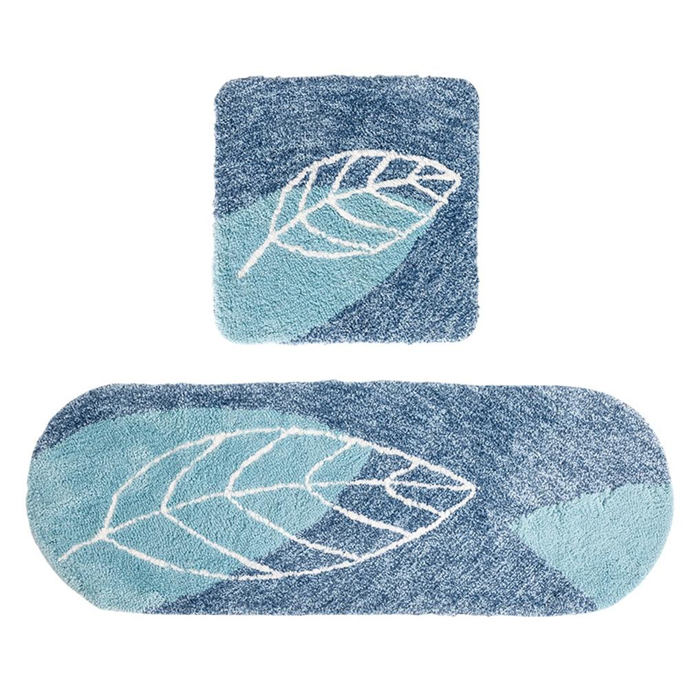 Arbre feuille bleu Super doux Shag tapis de cuisine et tapis 2 pièces ensemble solide absorbant tapis de salle de bain antidérapant lavable en Machine Bedro
