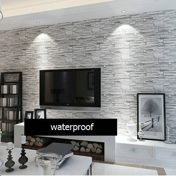 Basin Faucet Led Glass Modern Style 3D Wallpaper Stone