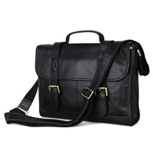Shiny Vintage Leather Men s Black Business Laptop Bag Briefcase Messenger Bag handbag Purse 7101A