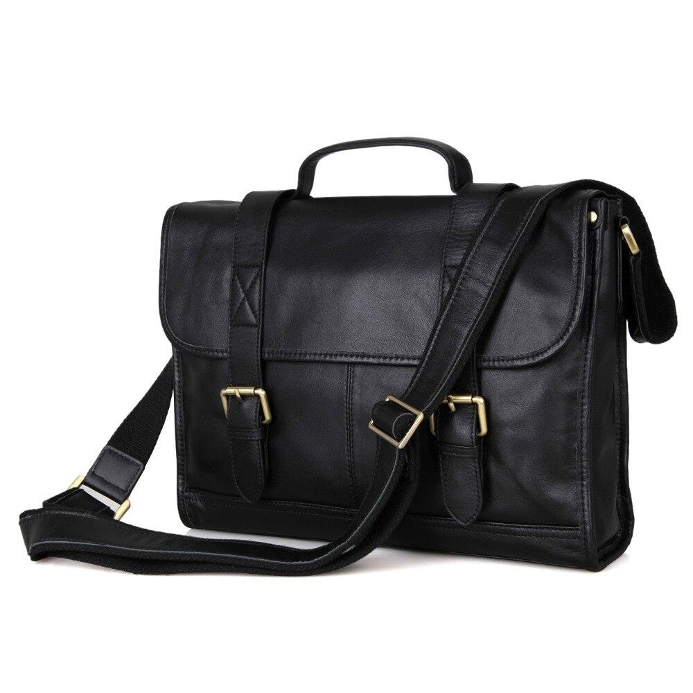 Shiny Vintage font b Leather b font Men s Black Business Laptop Bag Briefcase Messenger Bag