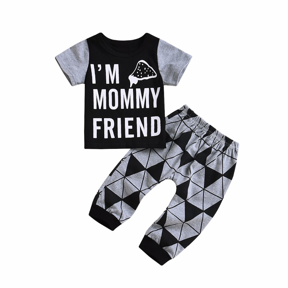 2018 Hot Baby Boys Short Sleeve Patchwork T-Shirt Top+Long Triangel Pant Letters Cartoon Mommy Friend Jumpsuit Sleep Pajamas 24M