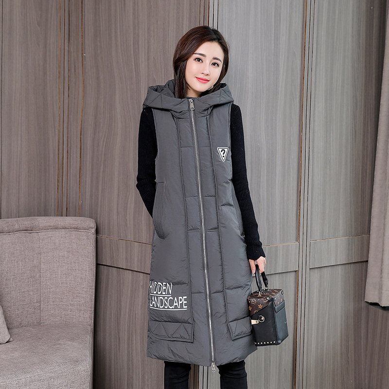KUYOMENS Fashion Women Vests Waistcoat 2017 Autumn Winter Mid long Down Cotton Padded Vest Female Sleeveless