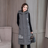 KUYOMENS Fashion Women Vests Waistcoat 2017 Autumn Winter Mid long Down Cotton Padded Vest Female Sleeveless Jackets Hooded Coat