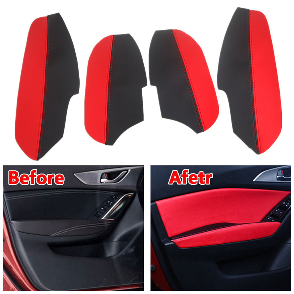Auto PU Door Panel + Armrest Surface Cover Trim Dust-proof Guard Anti-collision Car Styling For Mazda Axela 2014-2016 Car Covers for mitsubishi outlander 2013 2014 2015 2016 car styling door s armrest panel cover decoration trim leather skin