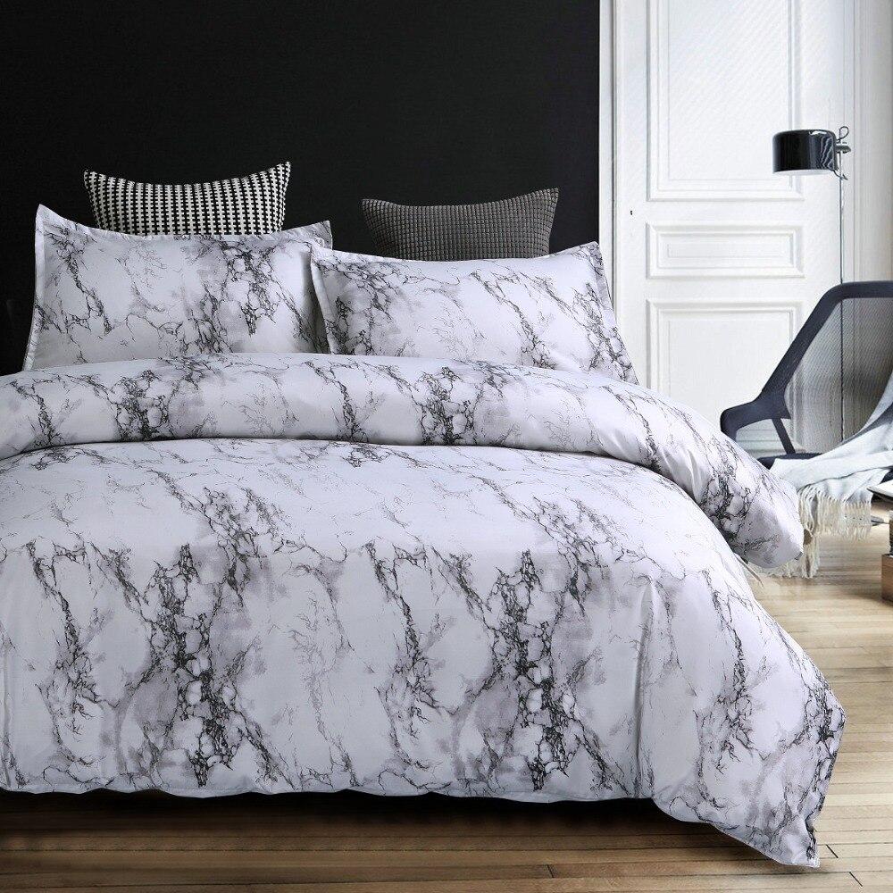 Ensemble de literie en marbre imprimé 3D housse de couette en microfibre noir blanc ensemble de linge de lit King Queen avec taie d'oreiller