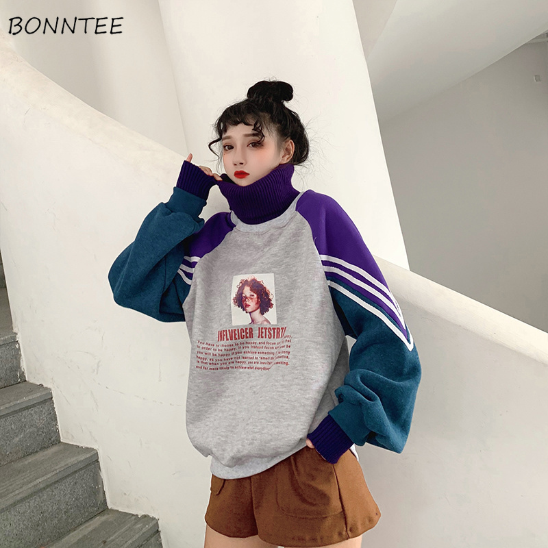 Hoodies Women Pullovers Long Sleeve Thicker Printed Harajuku Womens Patchwork Turtleneck Leisure Warm Trendy Hoodie Ladies Coats