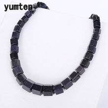 Yumten Blue Sandstone Women Necklace Men Star Stone Vintage Power Crystal Charms Choker Gemstone Reiki Healing Balance Jewelry(China)