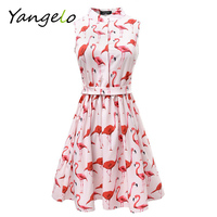 Vestods Summer Style 2016 Women Dress Flamingo Fun Flare Prints Casual High Waist Cute A Line