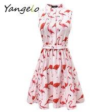 Vestods Summer 2017 Women Dress Strawberry Cactus Flamingo Unicorn Fun Flare Prints Casual High Waist Cute A Line Mini Dress