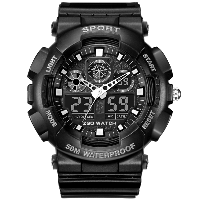 Water Resistant Military Sport Watch Swim Men Top Brand Luxury Dual Display Electronic LED Digital Wrist Watch Male Clock Gift. zgo high quality resin sport watch men 50m water resistant 1 year warranty white black golden sport wrist watch