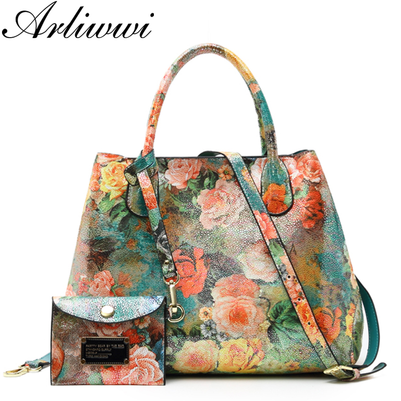 Arliwwi Brand Luxury Shiny Rainbow Color Floral Designer