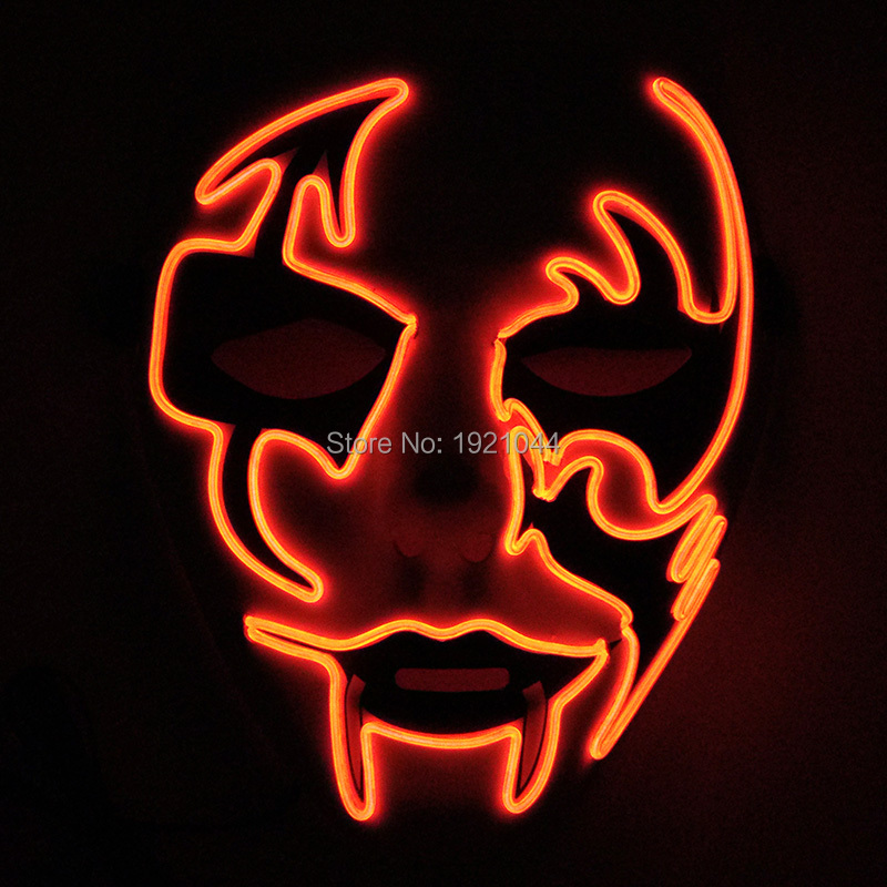 New type 10 Color optional luminous mask EL Wire Glowing Halloween Mask Flashing Props for Halloween Party Decoration