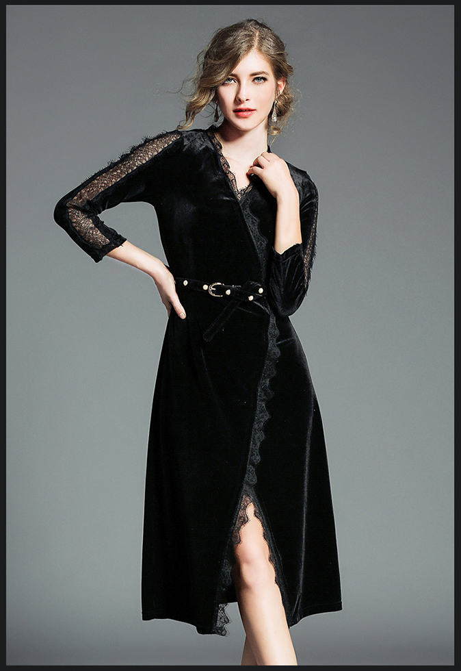 Elegant V-neck Wrap Hollow Out Sleeve Velvet Dress