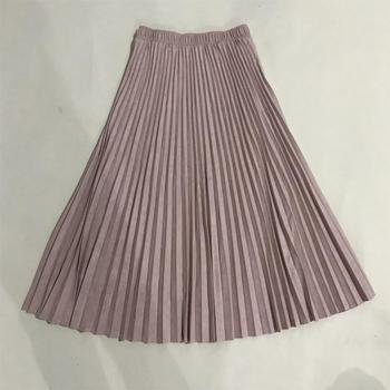 2019 Two Layer Autumn Winter Women Suede Skirt Long Pleated Skirts Womens Saias Midi Faldas Vintage Women Midi Skirt 6