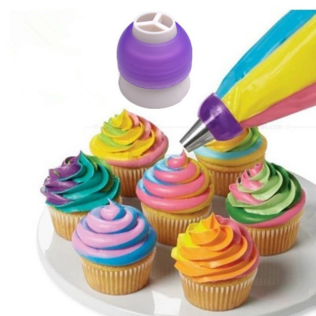 Piping Dyse Converter til Cupcake Dyse Converter 1 stk 3 Holes Cake Decoration Converter Bland 3 farver Icing