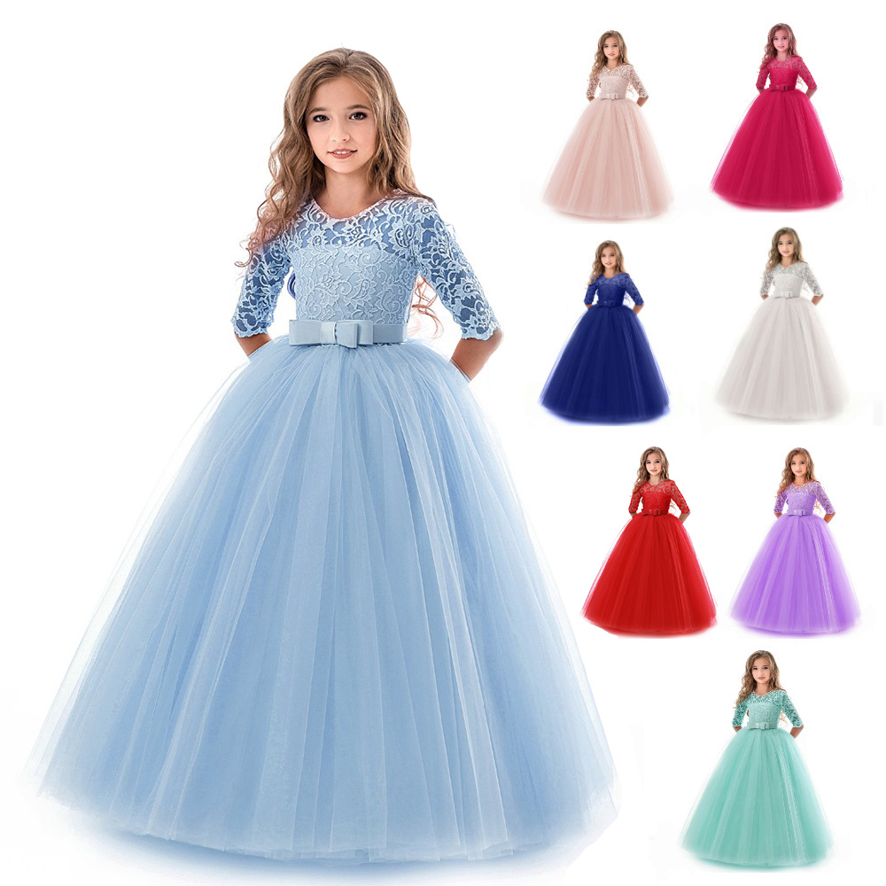 Girls Lace Half Sleeve Dress Elegant Kid Girls 3-15Yrs Dresses Tulle Lace Wedding Evening Princess Costume Children Clothing