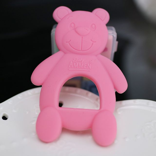 3 pcs Baby teether newborn baby toy cute bear baby Food grade silicone safety biting rubber color cartoon baby teethers 3 months