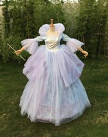 Free shipping For Adult Cinderella God Mother Cosplay Costume Dress For Princess Charming Costume