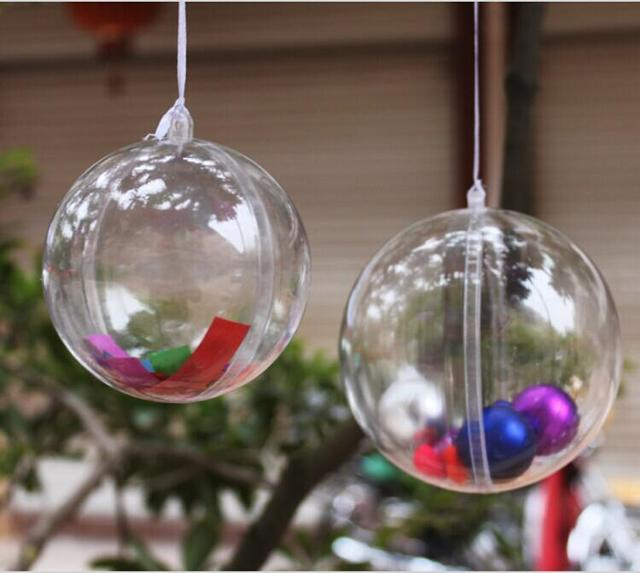 6 cm Can Open Clear Plastic Christmas Ball Ornament Candy Gift Box ...