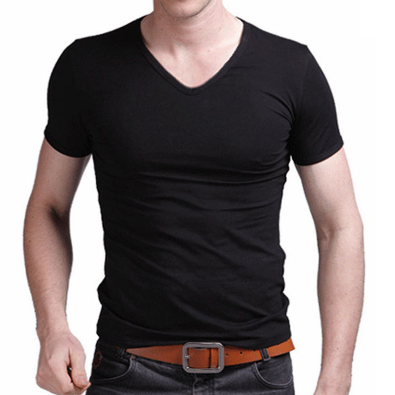 2019 Summer Men V Neck Elastic T Shirt Fashion Short Sleeve Tops Casual Men Slim Fitness Classic Black White Color T-shirt