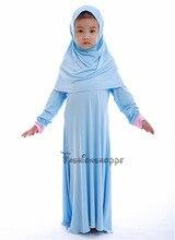 Muslim Islamic Girl Dress Long Sleeve Dresses Abaya Kaftan For Girls Dress+Hijab 2pcs Suits Combinaison Musulman Enfant Clothes