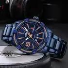 Naviforce Топ Роскошные мужские часы синие водонепроницаемые часы с датой недели кварцевые часы мужские спортивные наручные часы из полной стали мужские часы - 4