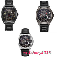 цена 44mm Parnis Black Dial Leather strap Romantic Sweet Sapphire Glass SS Case Luxury Brand Miyota Automatic Movement men's Watch онлайн в 2017 году