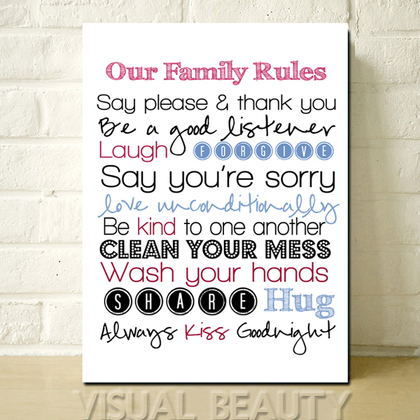 FREE SHIPPING The Letter Our Family Rules Wall Word Art For Living Room Decoration Canvas Print