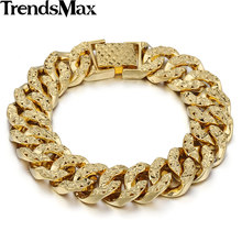 Trendsmax 14MM Wide 19cm Long Womens Girls Fashion Shiny Bracelet Big Hammered Curb Link Yellow Gold Filled Bracelet GB376(Hong Kong,China)