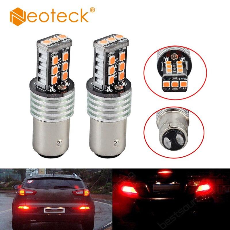 Neoteck High Power 2 pcs 12V BAY15D 1157 P21/ 5W Red Light Bulbs For Car 15 Led Brake Tail Light 2835 Canbus Bulbs Light Source