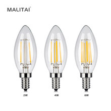 Edison Retro COB LED Filament Candle light E14 2W 4W 6W 220V 110V Decoration Glass LED Bulb lamp For Crystal Chandelier lighting(China)