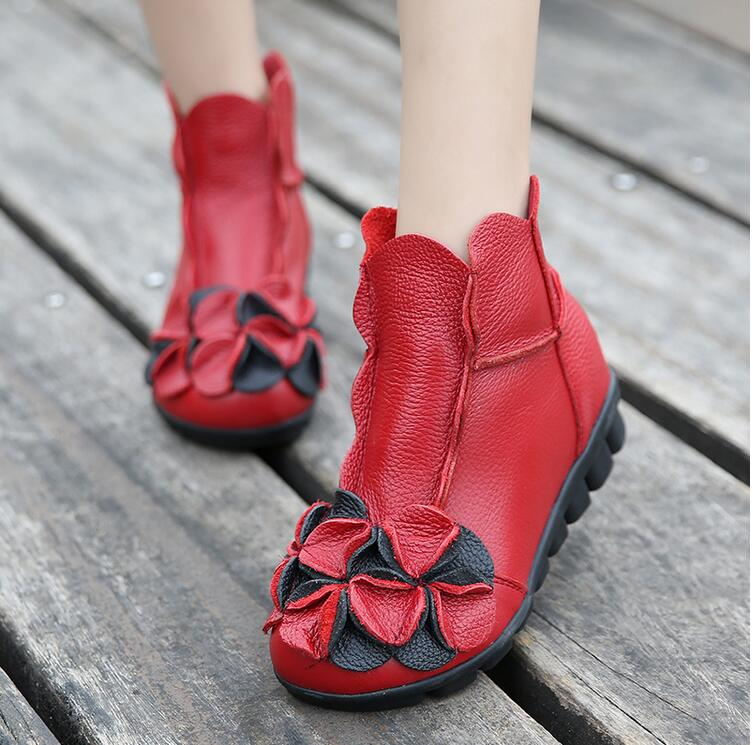 spring new style of national style short boots Genuine Leather shoes pure Handmade soft sole comfortable womens shoesspring new style of national style short boots Genuine Leather shoes pure Handmade soft sole comfortable womens shoes