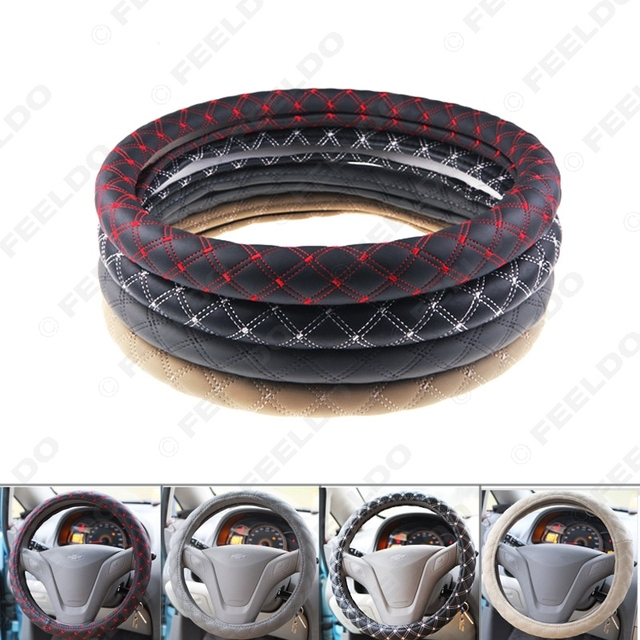 Car Red Wine Steering Wheel Cover Microfiber Leather Handlebar Sleeve Four Seasons Handlebar Grip Cover #J-2335