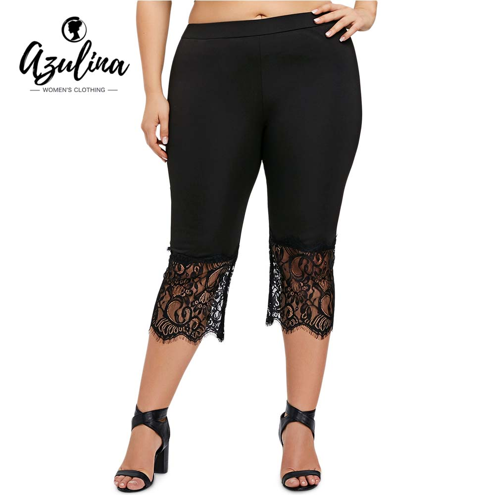 AZULINA Plus Size Lace Trim   Capri     Pants   Summer Women   Pant   2018 Summer Skinny Elastic Waist Pencil   Pants   Trousers Ladies Clothes