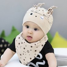 Kids Toddler Child Baby Boys Girls Sleep Hat Cap+Saliva Towel Triangle Head Scarf Set Cute Soft Warm Sets