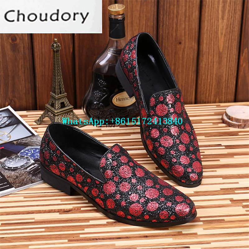 Choudory New Breathable Height Increasing Slip-On Polka Dot Men Casual Shoes Spring Autumn Bling Flat With New Fashion Shoes Men