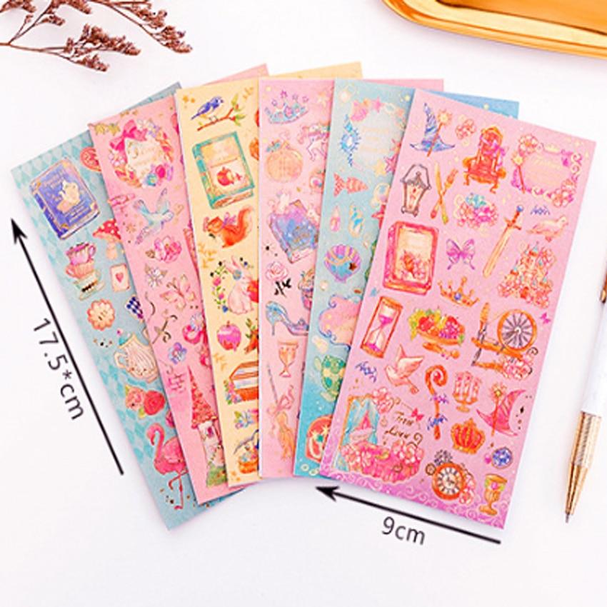 Купить с кэшбэком 1pcs/lot Romantic fantasy fairy tale world princess flower sticker hot stamping Decoration Scrapbooking DIY Sticker Stationery