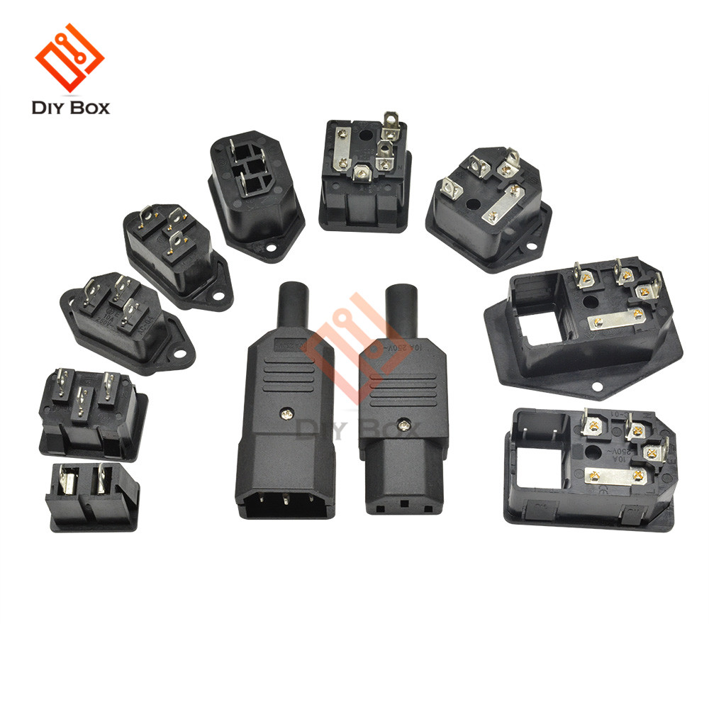 IEC Inlet Power Socket Straight Cable Plug Connector With 10A Fuse AC Socket Switch 3 Pin Female Male Inlet Plug