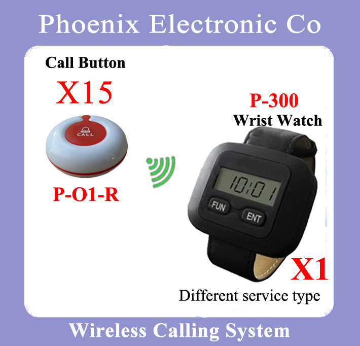 Wireless Pager System For Queue Electronic Restaurant ,10 Tablee Call Bell & 1 Pager Watch P-300 DHL Free Shipping restaurant pager watch wireless call buzzer system work with 3 pcs wrist watch and 25pcs waitress bell button p h4