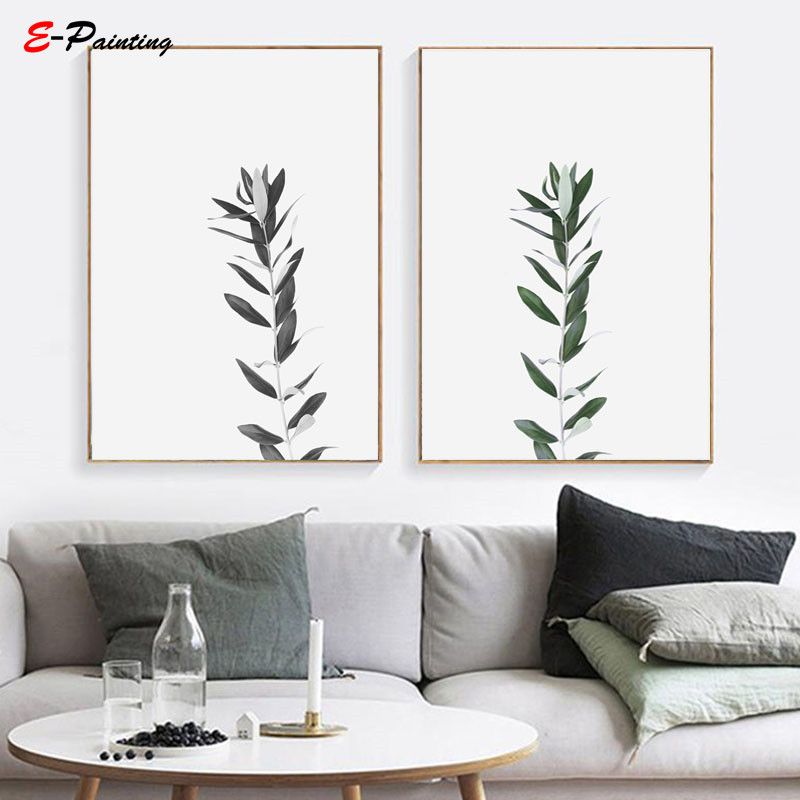 US $3.55 29% OFF|Modern Wall Painting Black & White Botanical Art Canvas  Print Olive Branch Photography Farmhouse Botanical Living Room Decor-in ...
