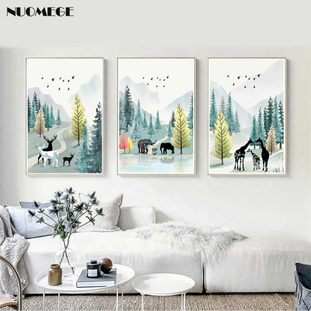 Modern Simple Poster Nordic Nature Watercolor Landscape
