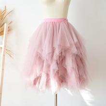 Mauve Ruffle Uneven Tulle Skirt Short Women Midi TUTU Tulle Skirt Wedding Bridal Bridesmaid Skirt Chic Tiered Lolita Faldas Saia