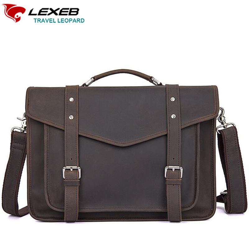 LEXEB Crazy Horse Leather Satchels Briefcases For Men, College Tote Bag Fit 14 Inch Laptop, Twin Buckles Messenger Bags Dark